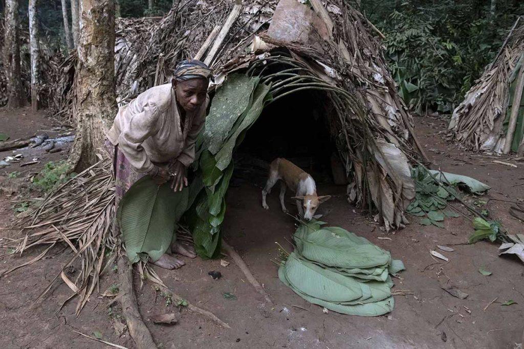 kameroen-baka-pygmeeën-vrouw-hut